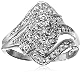 Sterling Silver Diamond Ring, Size 7