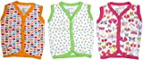NammaBaby Cotton Front Open Sleeveless vest- Tshirt -Multi PRINT Set Of 3 (3-6 Months)
