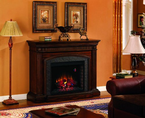 ClassicFlame Saranac Infrared Electric Fireplace Mantel Package in Roasted Cherry - 28WM1127-C256 picture B00FXFVAZQ.jpg
