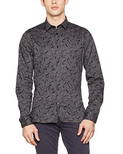 Guess Camicia Uomo Ls Allover Printed [Bianco]