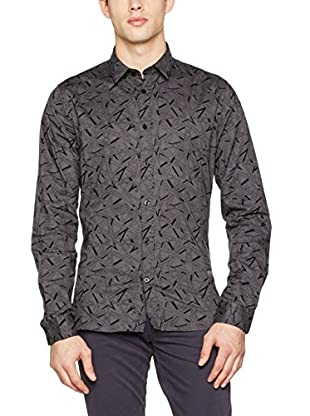 Guess Camisa Hombre Ls Allover Printed (Gris)
