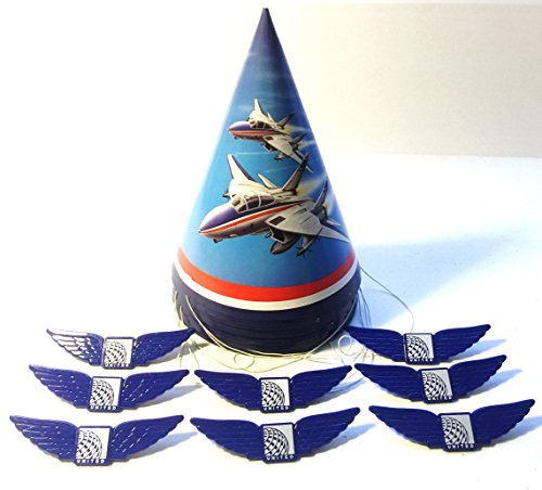 16 Piece Airplane Birthday Party Airforce Jet Hats and Pilot Wing Pins
