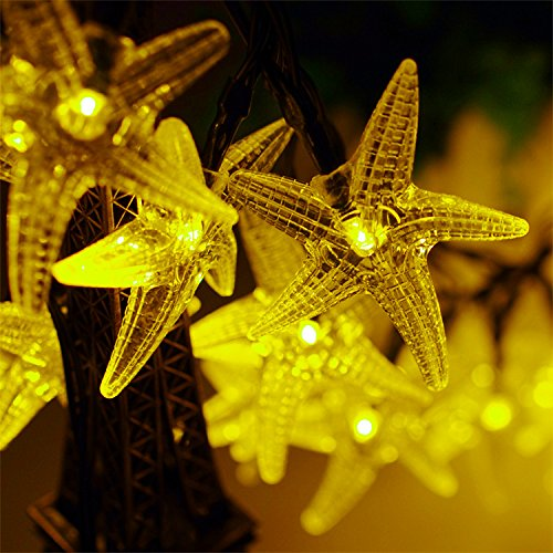 Fozela Solar Outdoor String Lights 30LED 20ft Starfish Solar Powered String Lights Christmas Decorative Lighting for Indoor Outdoor Garden Home Party Wedding Holiday Decorations (Yellow) (Home 20 Feet compare prices)