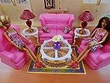 リビングルームの豪華のドリームセット バービー、ジェニー、ブライスなど1/6ドール用 ソファ、ランプ、テーブル、小物などの豪華セット