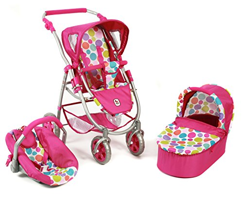 Bayer Chic 2000 637 17 - Kombi-Puppenwagen 3-in-1 Emotion All In, Bubbles, pink