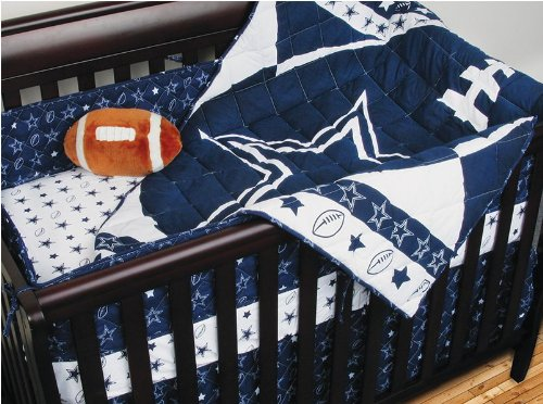 NFL Dallas Cowboys 4pc Crib Bedding Amd Matching Window Drape/Valance Set- Football Baby Quilt Bed-in-Bag at Amazon.com