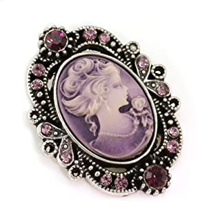 Violet Purple Cameo Brooch Pin Charm for Women Necklace Pendant Compatible