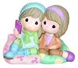 Precious Moments Girls Sitting on Large Pillows Taking Selfie Figurine
