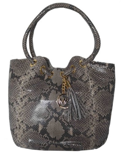 Michael Kors Snakeskin Leather Medium Ring Tote Handbag Bag Purse