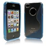 iPhone  4  ケース ハード TPU 超透かし模様  ライトブルー 液晶保護フィルム   USB充電ケーブル付 送料無料