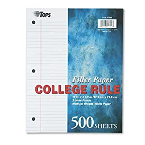 TOPS Notebook Filler Paper, College Ruled, 11 x 8.5 Inches, 3-Hole Punched, Medium Weight, White, 500 Sheets/Pack (62349)
