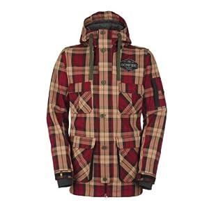 Buy Bonfire Utility Jacket (Plaid Red) Mens Snowboard Jacket by Bonfire