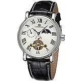 GuTe出品 腕時計 メンズ 自動巻き トゥールビョン クロノグラフ 革バンド ムーンフェイス ビンテージ 機械式 ホワイト