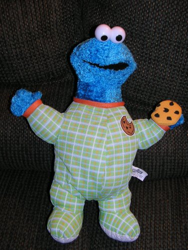 "Sesame Street Plush 15"" Cookie Monster in Green Outfit Holding Cookie by Nanco - 1"