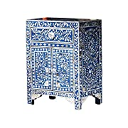 Handmade Bone Inlay Furniture - Side Table Floral Pattern Cabinet (Blue)