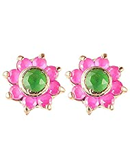 Archi Collection Ethnic Floral Ruby Emerald Stud Golden Brass Stud Earring For Women