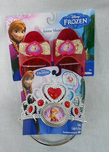 Disney Frozen Anna Light up Tiara and Play Shoes Pink Crown Set