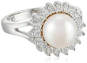 Bella Pearl Halo Pearl Ring, Size 6