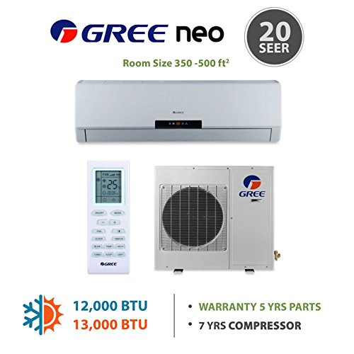 GREE Neo 12,000 BTU Wall Mounted Ductless Mini Split Heat Pump System R410A 208-230 VAC (R410a Split System compare prices)
