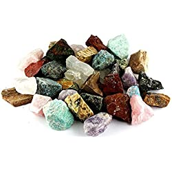 "Crystal Allies Materials: 2 Pounds Bulk Rough Madagascar 12-Stone Mix: Amethyst, Labradorite, Septarian, Rose Quartz, Green Opal, Girasol Opal, Desert Jasper, Blue Apatite, Red Jasper, Petrified Wood, Yellow Jasper & Chrysocolla - Large 1"" Natural Raw Stones & Fountain Rocks for Cabbing, Cutting, Lapidary, Tumbling & Polishing and Reiki Crystal Healing *Wholesale Lot*"