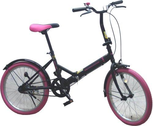モービック 20インチ折り畳み自転車 カラータイヤ ブラックピンク BK/PK