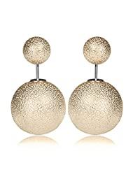 Celebrity Inspired Puckered Gold Double Pearl Bubbles Earring By Via Mazzini