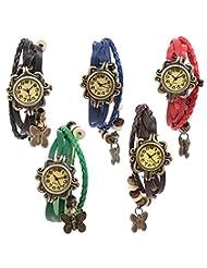 Felizo Combo Offer Pack Of 5 Multi Strap Fancy Butterfly Bracelet Vintage Watch (Black, Blue, Red, Green & Brown)
