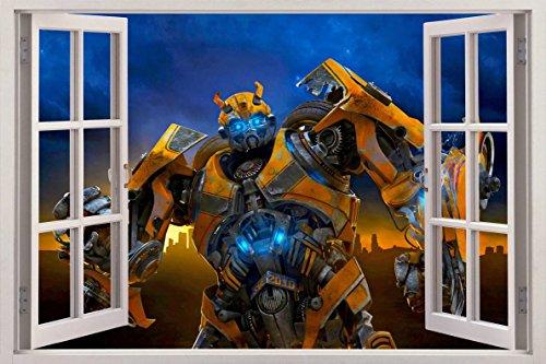 BUMBLEBEE Transformers 3D Window View Decal WALL STICKER Home Decor Art Mural, Large C030