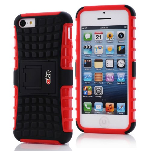 Bayke Brand / Apple Iphone 5C 2-Piec Dual Layer Tire Tread Combo Heavy Duty Rugged Matte Skidproof Hard Protective Case Cover With Kickstand (Red Tpu Inner)