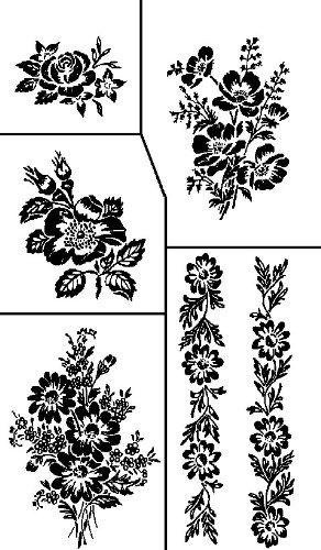 Armour Etch Stencil  Rub N Etch Stencil, Floral, 5-Inch by 8-Inch