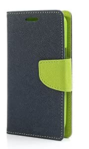 Dashmesh Shopping Wallet Style Diary Flip Case Cover With Card Holder And Stand For Htc Desire 728 (Green Blue)