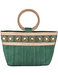 Sunbeams Ethnic Coin Bangle Hand-Held Bag (Green)