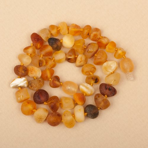 Raw Thick Beads Baltic Amber Teething Necklace 13''