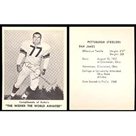 1963 Kahns Weiners Regular (Football) Card# 29 Dan James of the Pittsburgh Steelers ExMt... by Kahns Weiners