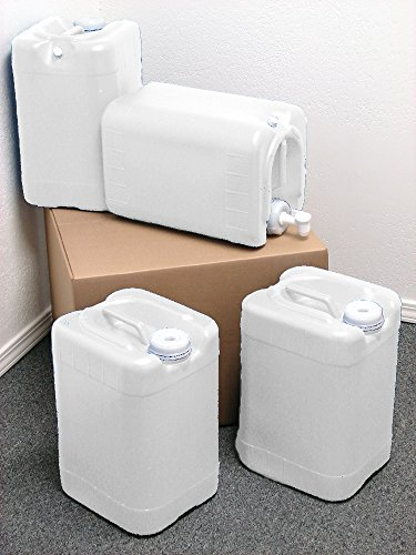 6 Gallon Samson Stackers, Natural, 4 Pack (24 Gallons), Emergency Water Storage Kit - New! - Clean! - Boxed! (Jugs With Spigots compare prices)
