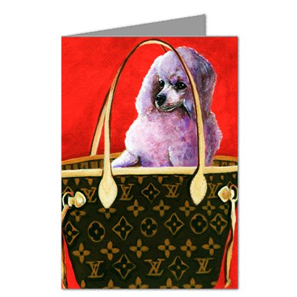 Toy Poodle in Louis Vuitton Handbag Greeting Card Set