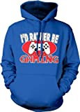 Id Rather Be Gaming Video Game Consol Remote Control Lazyness Hoodie Sweatshirt (Large, ROYAL BLUE)