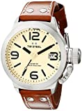 TW Steel Unisex Quartz Watch with Beige Dial Analogue Display and Brown Leather Strap TW1
