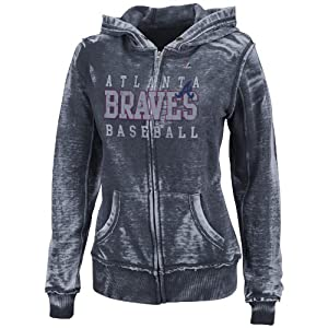 MLB Atlanta Braves Washed Athletic Navy Heather Long Sleeve Full Zip Hood Bunout... by Majestic