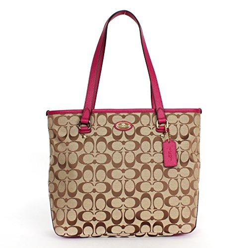 Coach 36375 Signature Zip Top Tote Shoulder Bag Khaki/cranberry