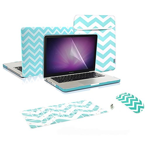 TopCase 5 in 1 Bundle - Chevron Series Hot Blue / Turquoise Ultra Slim Light Weight Rubberized Hard Case Cover and Matching Color Chevron Zig-Zag Keyboard Cover Skin + LCD Screen Protector + Sleeve Bag + Wireless Mouse for Macbook Pro 13-inch 13
