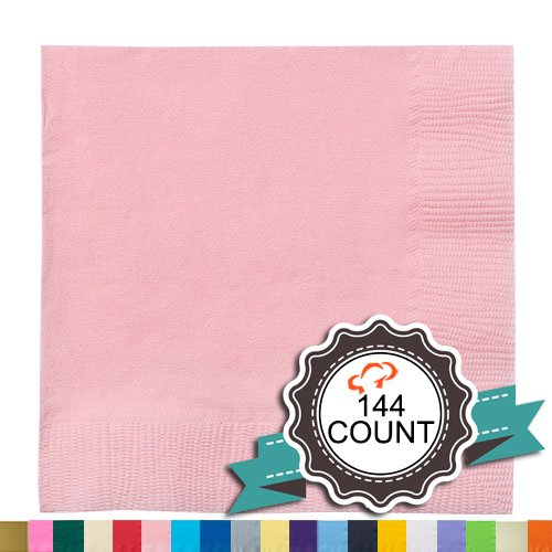 Tiger Chef 144-Pack Pink, 9 7/8 inch 2-Ply Colored Paper Beverage Napkins - Wedding, Decorative, Party Napkins (144, Pink)