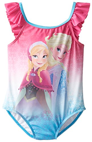 Disney Little Girls' Frozen Anna and Elsa Ruffle 1 Piece Swimsuit