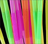 19.5 Long Flexible Neon Drinking Straws - Assorted Colors - Pack of 200