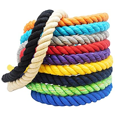 FMS Super Soft Triple-Strand 1/4 Inch, 1/2 Inch, 5/8 Inch, 3/4 Inch and 1 Inch Twisted Cotton Rope in 10 Feet, 25 Feet, 50 Feet, 100 Feet and Full Spools