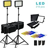 Julius Studio 2 Sets of 216 LED Dimmable Ultra High Power Lighting Panel with Collapsible Light Diffuser, 4 Color Gel Filter Light Stand, Battery/Charger, and Carry Bag, Photo Video Light Kit, JSAG372