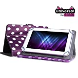 "Gadget Giant Retro Designer CnM TOUCHPAD 7 Universal 7"" 7 Inch Tablet Leather Folding Folio Stand Case Cover Pouch With Adjustable Multi Point Stand - Purple & White Polka Dot Dots - New Improved Design With 4 Secure Clasps For Added Safety"