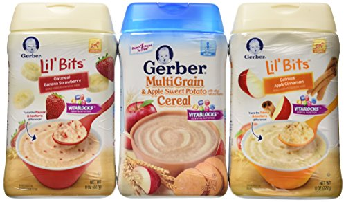Gerber Baby Cereal 3 Flavor Variety Bundle: (1) Gerber Lil' Bits Oatmeal Banana Strawberry Cereal, (1) Gerber Lil' Bits Oatmeal Apple Cinnamon Cereal, and (1) Gerber MultiGrain & Apple Sweet Potato Cereal, 8 Oz. Ea. (3 Cereal Boxes) - 1