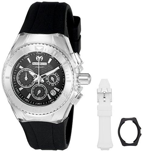 technomarine-womens-quartz-watch-with-black-dial-chronograph-display-and-white-silicone-strap-tm-115