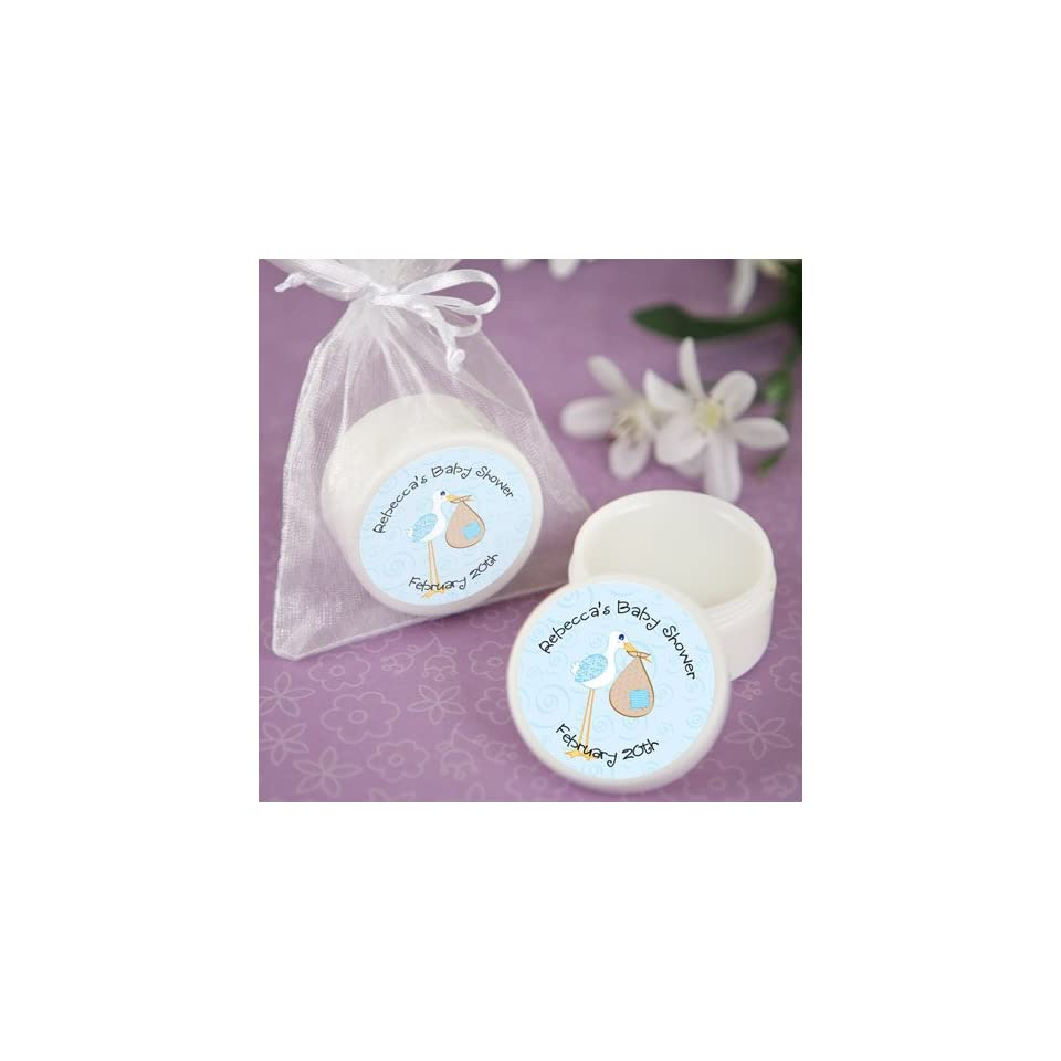 Stork Baby Boy   Personalized Lip Balm Baby Shower Favors  Toys